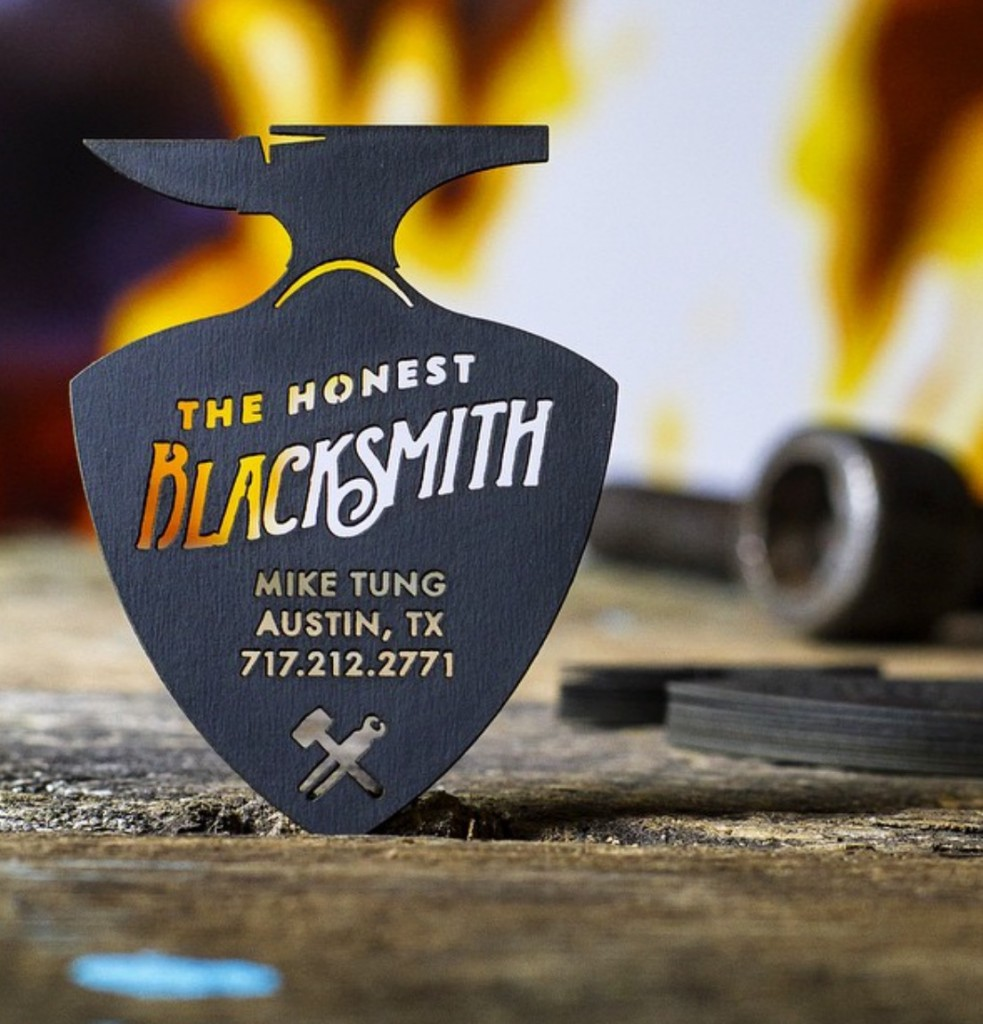 Unique dream business card design from jukeboxprint premium black business cards created for a blacksmith showing the impressive results of laser cutting colourmoves