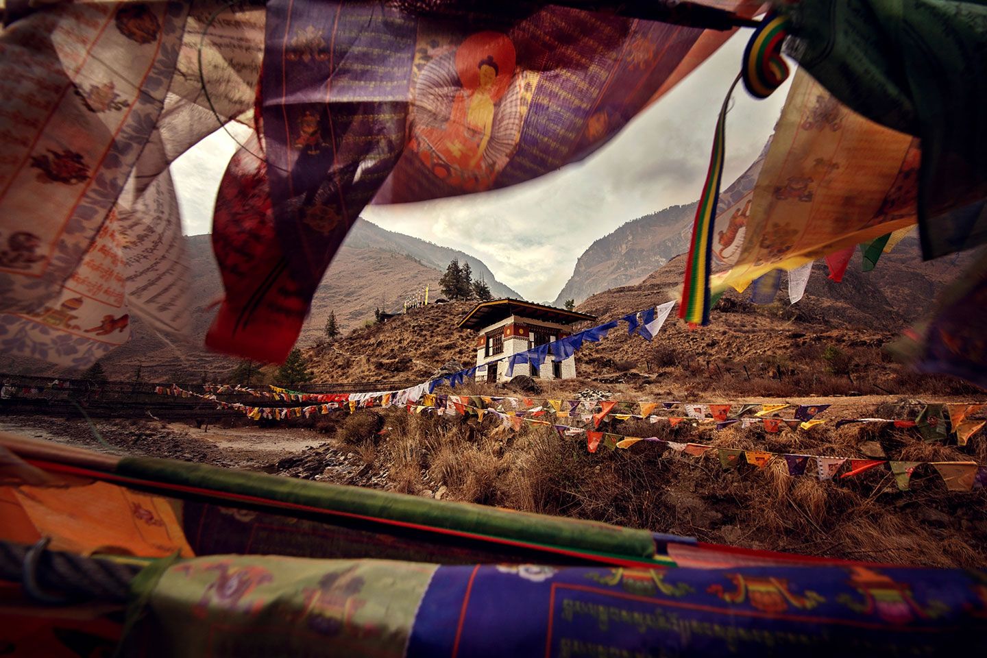 Beautiful Prayer Flags Surround The Stunning Landscape
